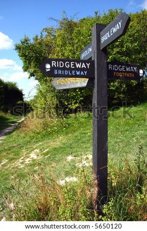Footpath sign on the Buckinghamshire Chilterns Ridgeway - stock photo