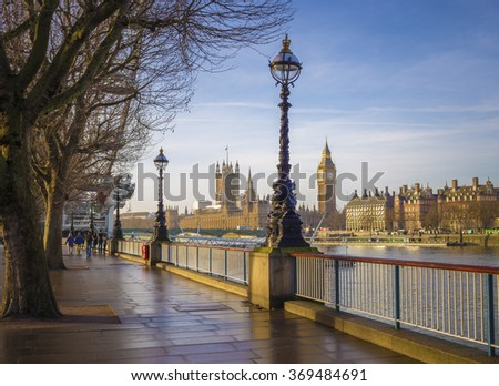 Footpath with Big Ben and Houses of Parliament at early in the morning - colourful version - Central London, UK - stock photo