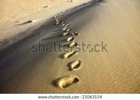 footprint at sand desert - stock photo