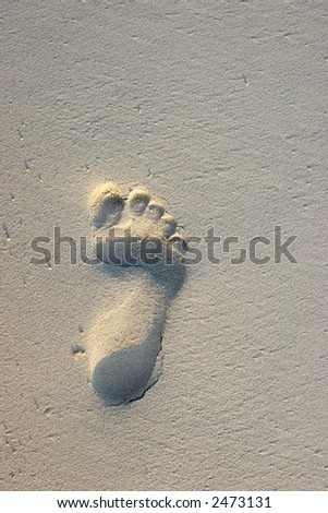 Footprint in Sand - stock photo