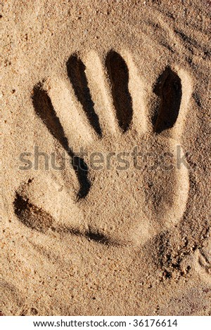 footprint in the sand hand