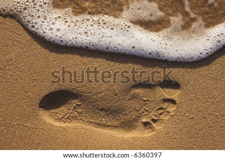 Footprint in the sand on a beach. Could signify something temporary. - stock photo