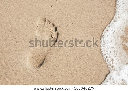 Footprint in the white sand on the beach - stock photo