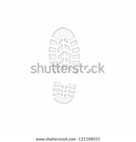footprint in white - stock photo