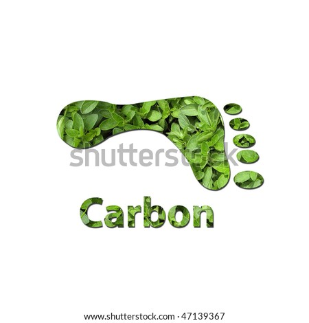 Footprint made up of green leaves to represent environmet issues or carbon footprint. Water photo from Nasa. - stock photo