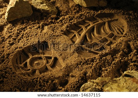 Footprint on a sandy surface - stock photo