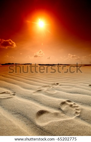 footprint on desert - stock photo