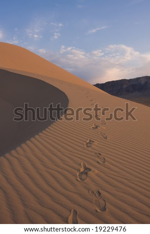 footprint on sand - stock photo