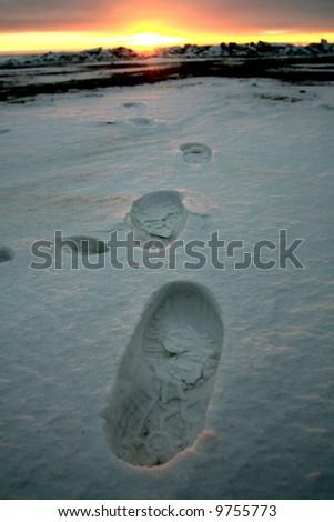footprint on snow - stock photo