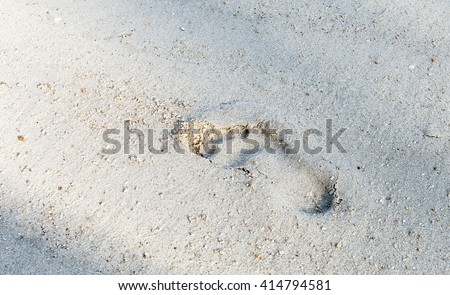 footprint on the beach in morning time - stock photo
