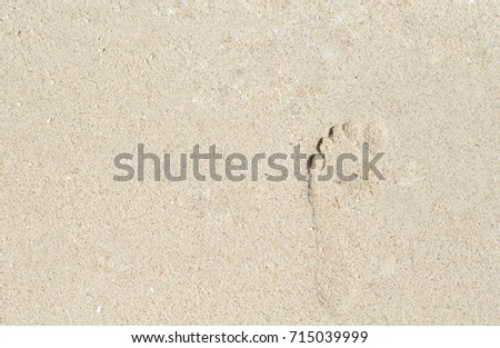 Footprint On White Sand Female Barefoot Print Beach Seashore Banner Template With