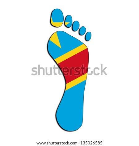 Footprint with flag inside - Democratic Republic of the Congo