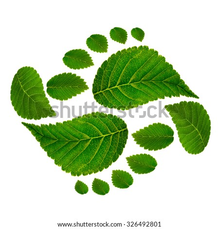Footprint ying jang  sign isolated on white