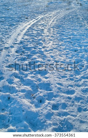 Footprints and tire tracks on a melting rural road, vertical outdoor shot