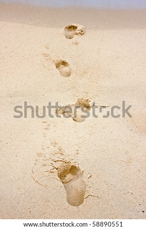 Footprints in sand towards the sea