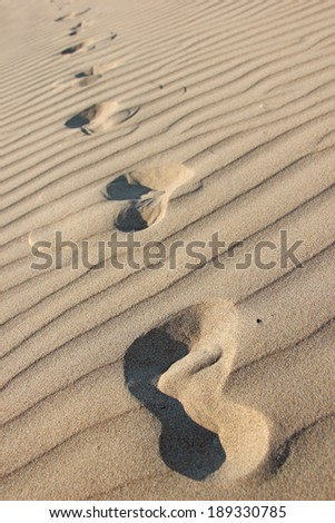 Footprints in the dry rippling sand - stock photo
