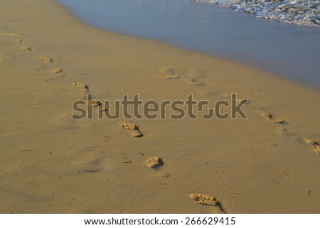 Footprints in the sand beach