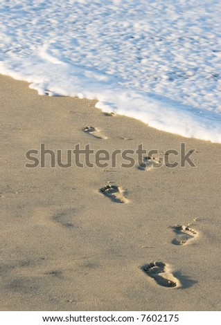 Footprints in the sand leading into the water