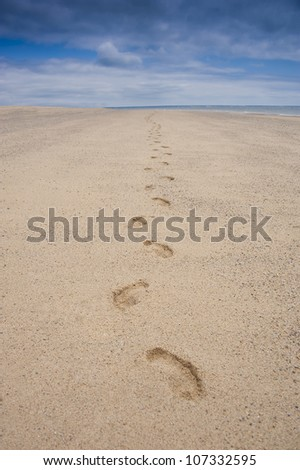 footprints in the sand of a beach - stock photo