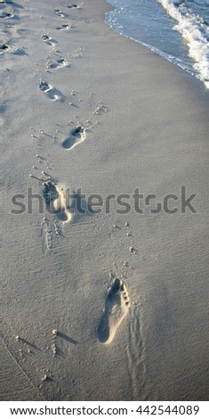 Footprints in the sand on the beach at sunset. - stock photo