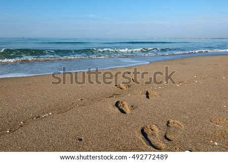 Footprints in the sand with sea
