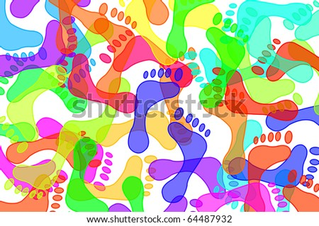 footprints of different colors drawn on a white background