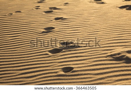 Footprints on a sand in the desert