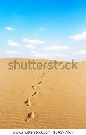 Footprints on desert - stock photo