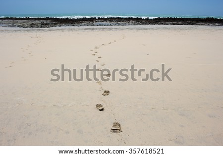Footprints on iconic Cable Beach, Broome in Western Australia's Kimberley region, a 22 kilometre-long stretch of pure white sand, fringed by the turquoise waters of the Indian Ocean.