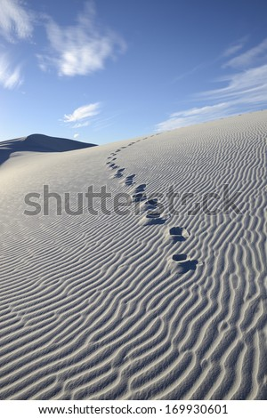 Footprints on Sand Dune - stock photo