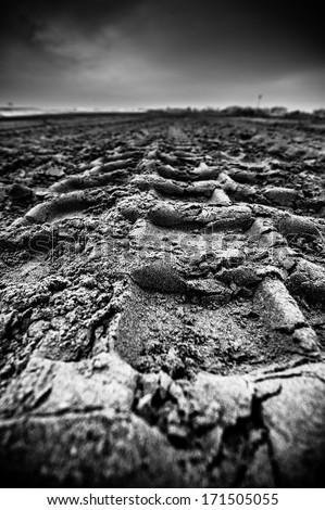 footprints on the italian beach - stock photo