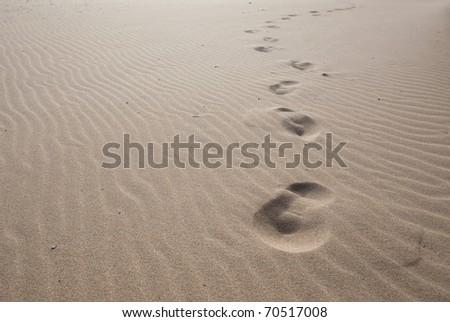 footprints on the sand, extreme closeup photo - stock photo