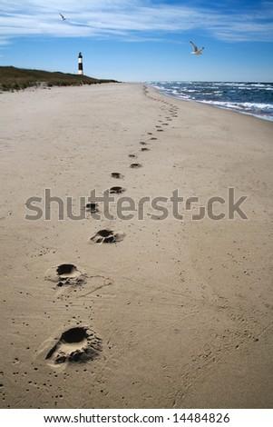 Footprints Sand And Surf, Lake Michigan At Big Sable Point - stock photo