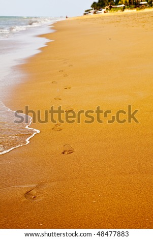 Footprints walking along the beach - stock photo
