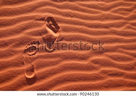 Footsteps in the desert - stock photo