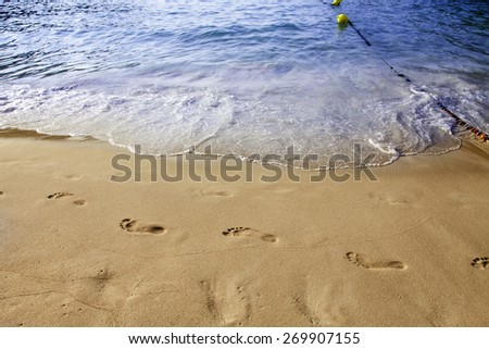 Footsteps in the sand on the beach - stock photo