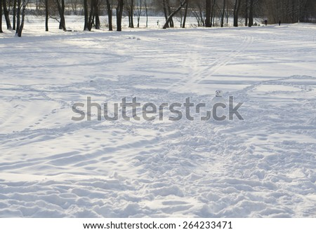 Footsteps on snow - stock photo