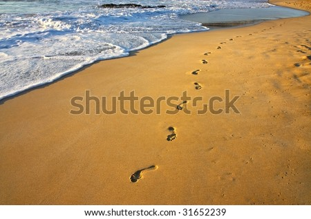 footsteps on the beach and water - stock photo
