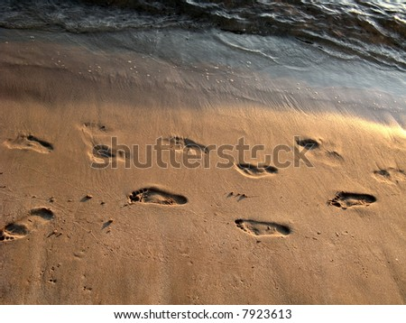 Footsteps on the beach at sunset - stock photo