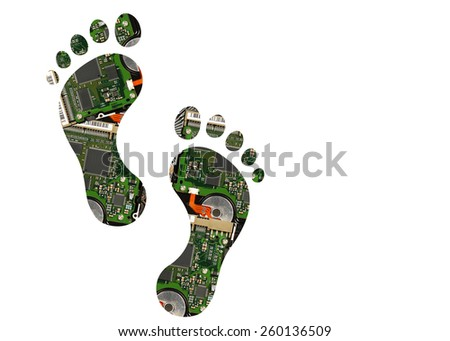 Footsteps silhouette made of electronic waste  - stock photo
