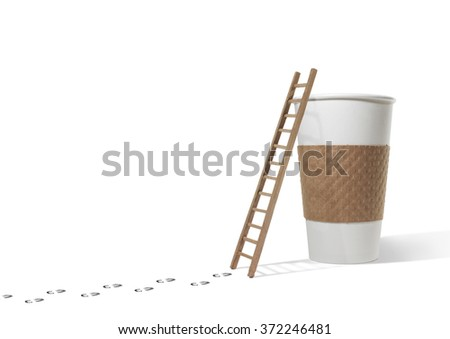 Footsteps to ladder and coffee cup  - stock photo