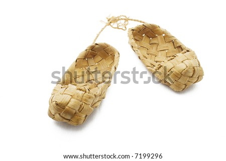 Footwear named lapty or bast shoes. - stock photo