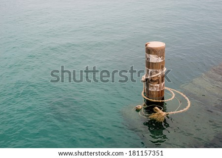 For mooring mast at sea - stock photo