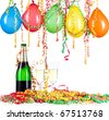 For New Year or other festivities, a pair of champagne glasses with balloon and - stock photo