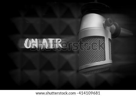 for radio stations: Microphone on air - stock photo