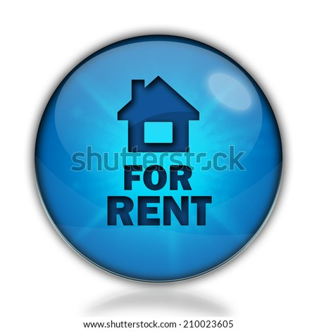 For rent blue circular icon on white background - stock photo