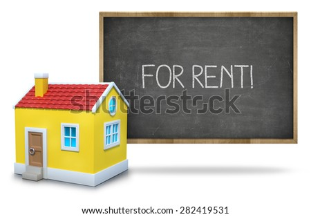 For rent on black Blackboard with 3d house - stock photo