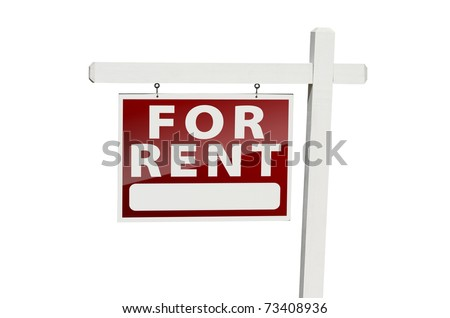 For Rent Real Estate Sign Isolated on a White Background with Clipping Path. - stock photo