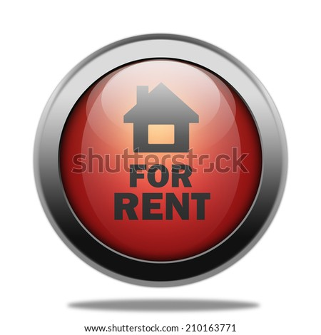 For rent red circular button on white background - stock photo