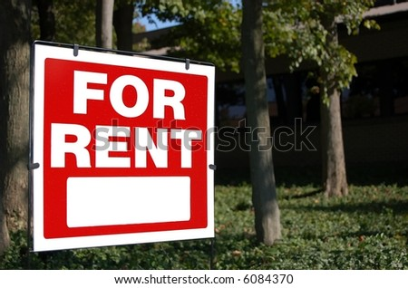 For rent sign at an office building - stock photo